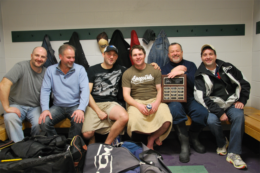 Members included (from left) Derrick Vogel, Murray Snider, Brian Laforge, Dan Delong, Steve Hoppe, Scott Carpenter. Other team members include: Ken Noseworthy, Keegan Still, Todd Blyth, Drew Snider, Kyle Atkinson, Jeff Barr, Dave Boushy, Ryan Ferguson, Chris Wormsley, Jeremy Geurgis and goalie Jared Harper.