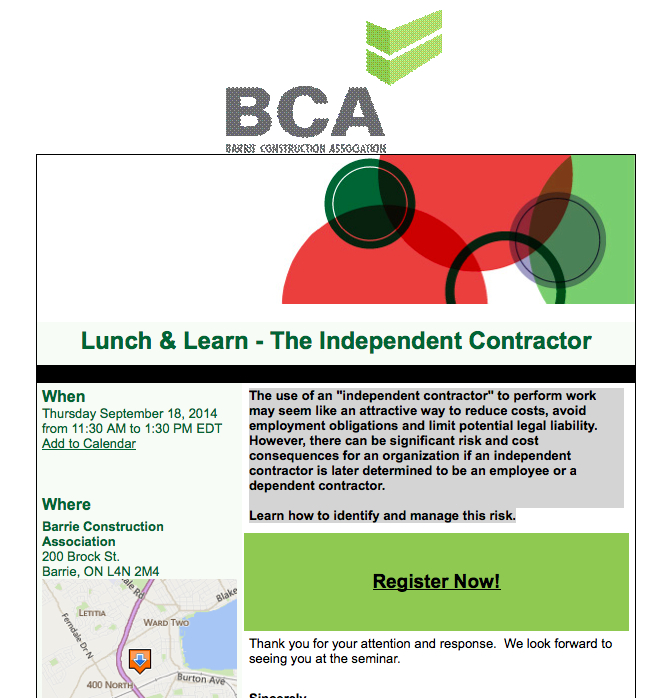 bca lunch and learn