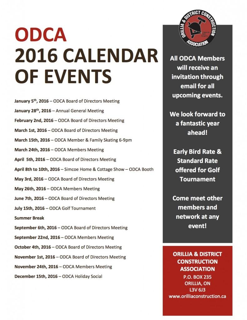 ODCA calendar