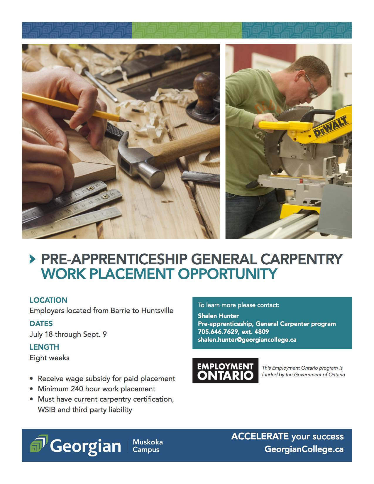 work placement employment flyer